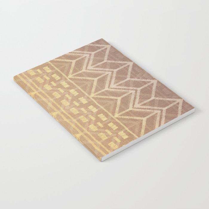Neutral Tan & Gold Tribal Ikat Pattern Notebook