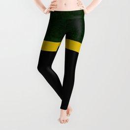 Green, Gold And Black Color Block Leggings