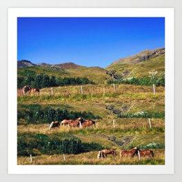 Nuzzling Icelandic Horses on the Snæfellsnes Peninsula Art Print