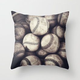 Bucket of Baseballs Throw Pillow