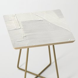 Relief [2]: an abstract, textured piece in white by Alyssa Hamilton Art Side Table