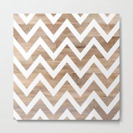 woodgrain cheveron Metal Print