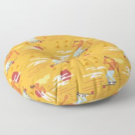 Skateboarders Holiday Pattern Floor Pillow