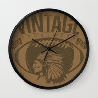 sports Wall Clocks featuring Vintage sports by Tshirt-Factory