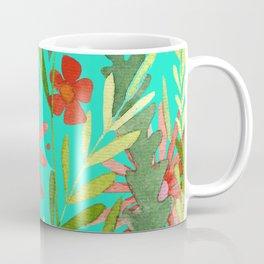 Flower Burst Orange and Turquoise, floral pattern design Coffee Mug