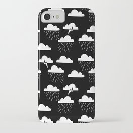 Clouds linocut black and white printmaking pattern black and white iPhone Case