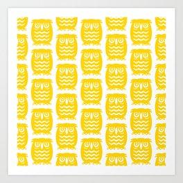 Mid Century Owl Pattern Yellow Art Print