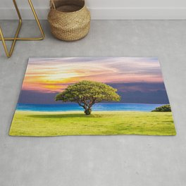 Beautiful Lonely Tree At Tropical Beach At Sunset Ultra HD Rug