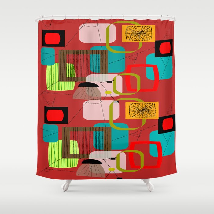 Mid Century Modern Abstract In Red Shower Curtain By Kippygirl