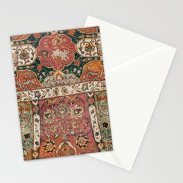 Persian Medallion Rug V // 16th Century Distressed Red Green Blue Flowery Colorful Ornate Pattern Stationery Cards