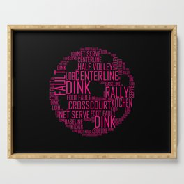 Pink Pickleball Ball Art Words Gift Serving Tray