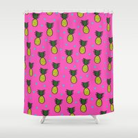 pineapples Shower Curtains featuring Pineapples by Sandra Arduini