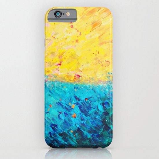THE DIVIDE - Stunning Bold Colors, Ocean Waves Sun, Modern Beach Chic Theme Abstract Painting iPhone & iPod Case
