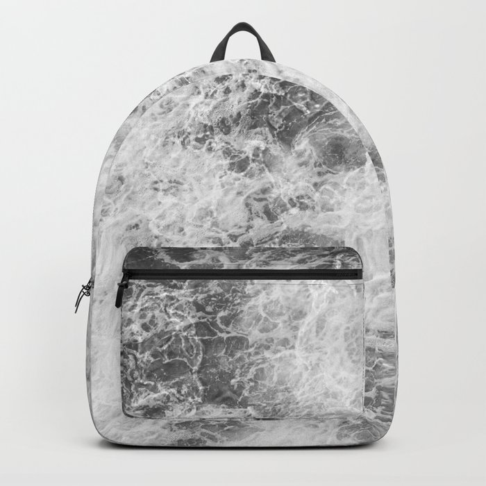 Black and white abstract pattern. waves Backpack