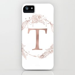 Letter T Rose Gold Pink Initial Monogram iPhone Case