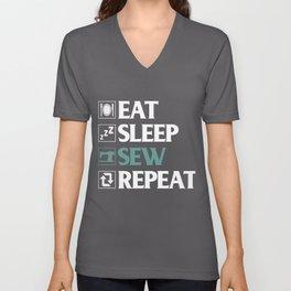 Eat Sleep Sew Repeat Unisex V-Neck