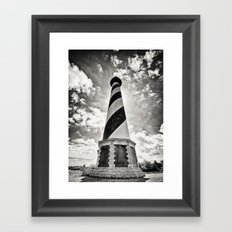 Cape Hatteras Lighthouse, Outer Banks NC (Black & White/Sepia-toned) Framed Art Print