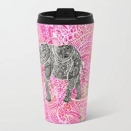 Pink Safari | Tribal Paisley Elephant Henna Pattern Travel Mug