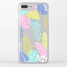 Bold Pastel Jungle Floral Clear iPhone Case