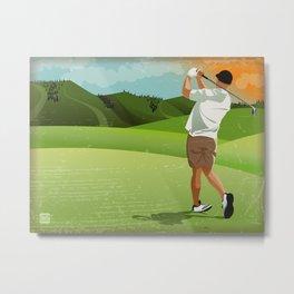 Mountain Golfer Metal Print