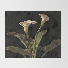 White Calla Lilies On A Black Background Throw Blanket
