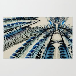 Blue wing feathers bird wings Rug