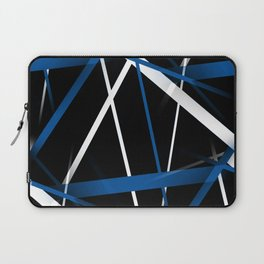 Seamless Blue and White Stripes on A Black Background Laptop Sleeve