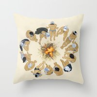 kozyndan Throw Pillows featuring Finding Warmth Together by kozyndan