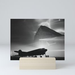 Airliner Silhouetted by Searchlights - Rock of Gibraltar - WW2 Mini Art Print