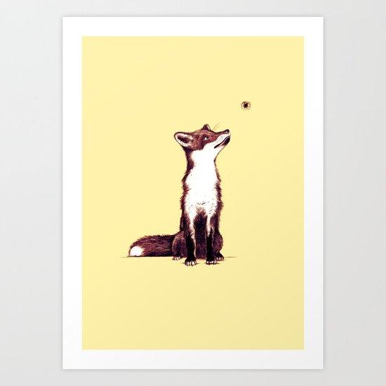 Brown Fox Looks at Thing Art Print