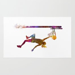 Young woman basketball player 04 in watercolor Rug