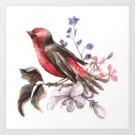 Beautiful bird on a branch with blooming flowers Art Print