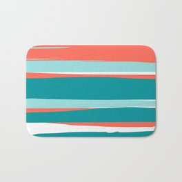 Striped California Seascape, Living Coral, Teal Bath Mat