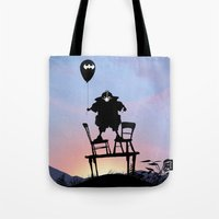 bane Tote Bags featuring Bane Kid by Andy Fairhurst Art