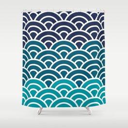 Japanese Seigaiha Wave - Blue gradient Shower Curtain