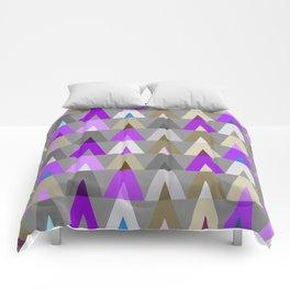 Geometric Triangles | purple grey Comforters