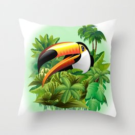 Toco Toucan on Tropical Jungle Throw Pillow