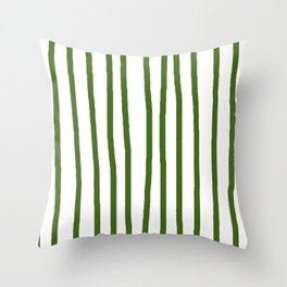 Simply Drawn Vertical Stripes in Jungle Green Throw Pillow
