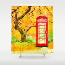 Autumn In Great Britain - Red Telephone Box Artwork Shower Curtain