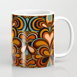 70s Retro Psychedelic Pattern Orange Teal Coffee Mug