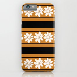 Marnie: Vintage Inspired Horizontal Stripes and Daisies  iPhone Case