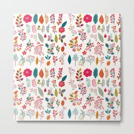 Colorful fall orange pink ivory holly berries floral Metal Print