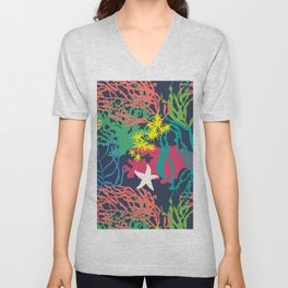Coral Reef in Navy Unisex V-Neck