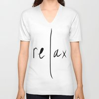 relax V-neck T-shirts featuring relax by Malkin