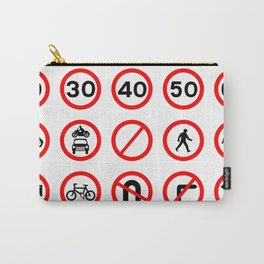 Road Signs - Red Round Carry-All Pouch