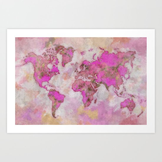 World Map Violet Art Print