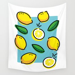 Lemons and leaves Wall Tapestry