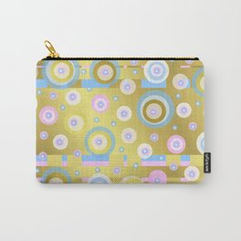 Gold, Rose, Blue, retro pattern, balls, stripes, shiny Carry-All Pouch