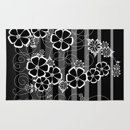 Abstract white and black flowers with background Rug