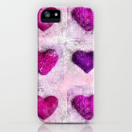 Pink Passion colorful heart pattern iPhone Case